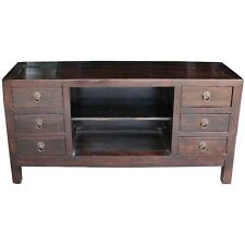 Chinese Antique Furniture - Brown Low Sideboard/Buffet/TV Unit  (10-085)