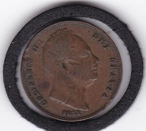 1831   King   William   IV  Copper  Farthing  (1/4d)  Coin
