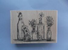 INKADINKADO RUBBER STAMPS ASSORTED BOTTLES OF FLOWERS NEW STAMP