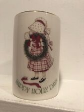 """Holly Hobbie Christmas Candle New """"Happy Holly Days� Plaid Dress Wreath White"""