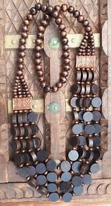 Dark Brown Wooden Necklace Multi Strand with Disc Beads boho/tribal Style