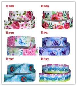 Floral Ribbon 7/8'' Flower Print 22mm Grosgrain Satin DIY Hair Bow 5-10Yards