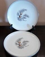 Mikasa Fine China Silver Pine Dinner Plates x3 Gray Band Pine Needles 6004