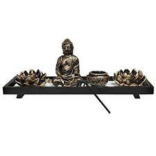 Buddha Statue Meditation Zen Garden Set Home Office Decor Candle Holder NEW