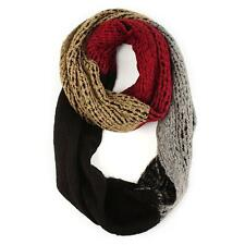 Winter 4 Colorway Block Cute Chunky Thick Knit Loop Cowl Infinity Scarf Ski Red