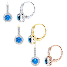 2ct London Blue & White Topaz Round Leverback Earring In 18k Gold Over $151.76