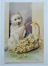 Beautiful White Dog with Basket of Yellow Blossoms Embossed PFB  Postcard