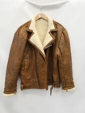 VINTAGE unbranded leather/sheepskin Suede Jacket Coat Size UK XL - F07