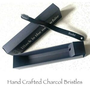 CHARCOAL HANDCRAFTED BRISTLE TOOTHBRUSH by Rushe of London | 2 x toothbrushes