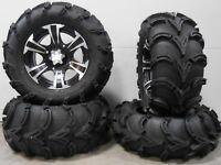 """ITP SS312 14"""" Wheels Black 27"""" Mud Lite XL Tires Kawasaki Brute Force IRS"""