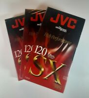Lot of (3) JVC SX Blank VHS Tapes T-120 6-hrs (T-120 SX) New & Factory Sealed