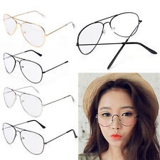 Clear Lens Aviator Glasses Fashion Pilot Metal Frame Gold Silver Sunglasses  OZ