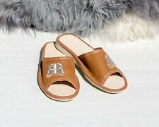 Womens Ladies Slippers Home Shoes Leather Suede Butterfly Brown Kapcie ALL SIZES