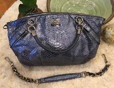 Authentic Coach Madison Python Purse, Shoulder Bag, Metallic Blue