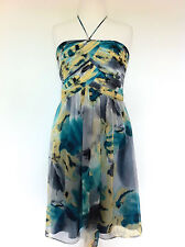 LAUNDRY BY SHELLI SEGAL SILK BODICE DRESS Cocktail Evening Grey Turquoise Sz 8