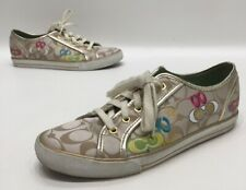 Coach Dee Womens Gold/Multicolor Fabric Low Top Fashion Sneakers Size 9B