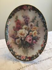 Lena Liu Floral Cameo Plate First Issue 1996 Bradford Exchange Floral design