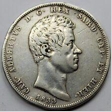 ESTADO ITALIA 1833 CARLO ALBERTO 5 LIRA LIRE MONEDA PLATA SILVER GOLPE CANTO