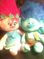 Used Dreamworks TROLLS  Branch & Poppy Licensed Plush pillows Stuffed Toys