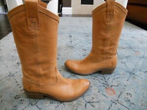 FRYE CARSON WESTERN MID CALF PULL ON BROWN LEATHER BOOTS WOMEN'S sz 8