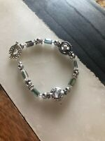 Antiqued Silver Tone AB Crystal Beaded Natural Artisan Toggle Bracelet