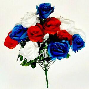 "USA Rose 21"" Bush Red White & Blue Patriotic Silk Flower Home Yard Paio Decor US"