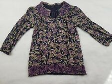 Lucky Brand Medium Boho Peasant Hippy Blouse Stretch Purple Floral Blue
