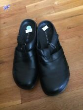 Aravon Black Women's Slides Slip On Leather Shoes Size 7 EUC