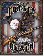 Give Me Liberty Give Me Death Bald Eagle 4th Flag Wall Bar Decor Metal Tin Sign