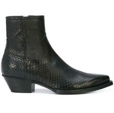 Mens Fashion Winter Pointy Toe Serpentine Leather Shoes Dress Shoes Chelsea boot