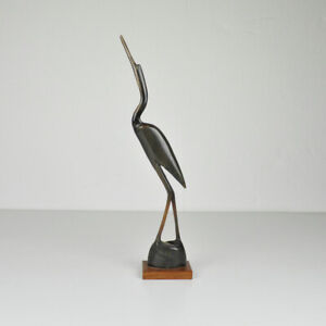 Kranich - Horn - Vogel - Reiher - Figur - Beinarbeit - geschnitzt - Vintage