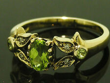 R276- Genuine 9ct Solid Yellow Gold NATURAL Peridot & Diamond Ring size N / 6.75