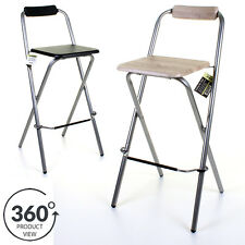 Folding Wooden Bar Stool Chair Breakfast Kitchen Seating Silver Frame Seat Home 1