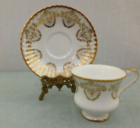Vintage Paragon Heavy Gold Decorated Bone China England Tea Cup and Saucer H47