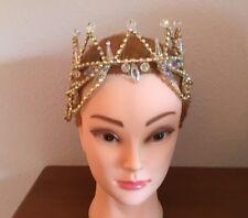 Professional Sleeping Beauty Gold AB Crystal Ballet Tiara Headpiece Crown YAGP