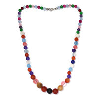 """925 Sterling Silver Multi Color Agate Mookite Necklace Gift Size 20"""" Ct 224.2"""