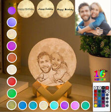 20cm Personalized Moon Lamp 3D Printed Custom Photo Text Moon Light USB Charging