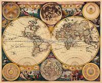 Double Hemisphere Decorative Antique Vintage Old Colour John Seller World Map