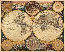 Antique world wall maps ebay double hemisphere decorative antique vintage old colour john seller world map gumiabroncs Images