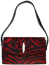 Red Stingray Leather Handbag, Stingray Purse, Black/Red Wave Design Stingray Bag