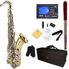 Mendini Bb Tenor Saxophone Sax ~Gold Lacquered Body Silver Keys +Tuner ~MTS-LN