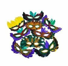 50 Pack of Mardi Gras Masquerade Party Feather Fantasy Masks in... Free Shipping