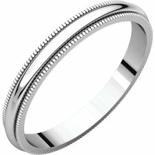 2.5mm 18K Solid White Gold Milgrain Half Round Comfort Fit Wedding Band Size 7