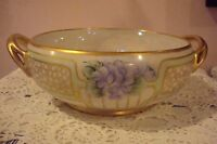 Noritake Made in Japan lusterware 2 handled bowl, gold and violets  [4*7]