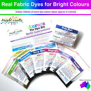 6 colour Aurora Tie Dye Kit REFILL professional fabric dyes for bright colours