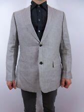HUGO BOSS Men's Grey Pure Linen Casual Tweed Suit Blazer Jacket sz 52 BI51