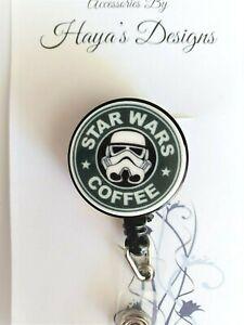 Star Wars Coffee Humor Badge Reel, Retractable ID Badge, Stethoscope ID Tag