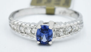 AAA TANZANITE 0.69 Cts & GENUINE DIAMONDS RING 10K WHITE GOLD * New With Tag *
