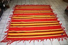 Beautiful Red & Multi-color Pendleton Southwestern Wool Blanket with Fring