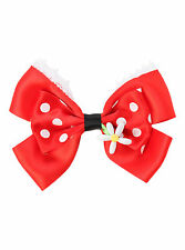 NEW Disney Minnie Mouse Red Flower Ribbon Bow Tie Hair Clip Pin Costume Dress Up
